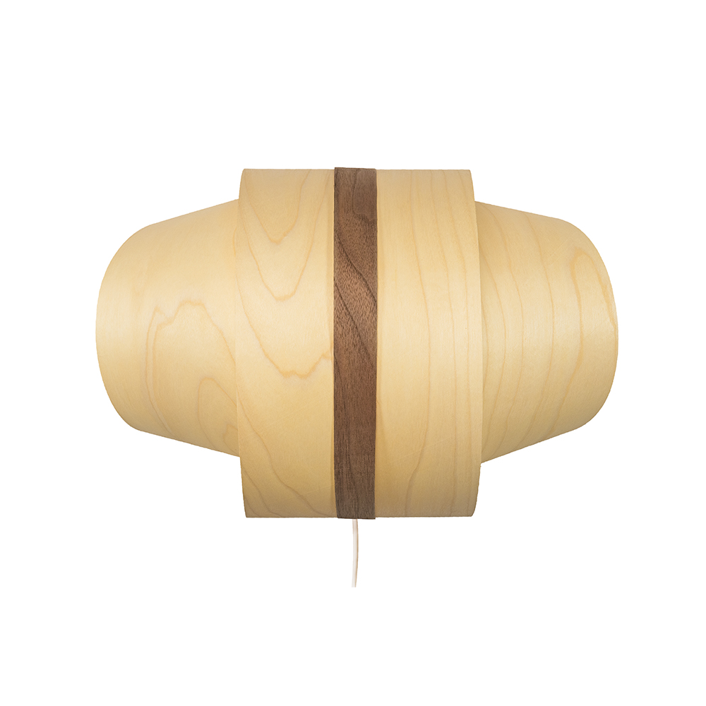 Maple and walnut Caramella wall lamp horizontal front view